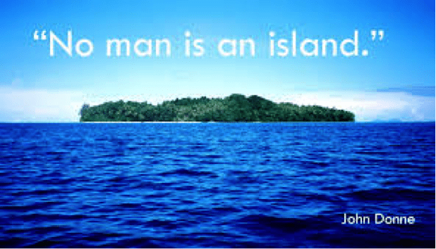 analysis of island man In 1623, donne suffered a nearly fatal illness, which inspired him to write a book of meditations on pain, health, and sickness called devotions upon emergent occasions no man is an island is a famous section of meditation xvii from this book.